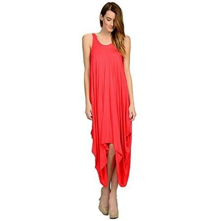 Fashion Secret Harlem ( Harem ) Loose Rayon Beach Spandex Dress (Large, Coral)