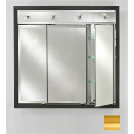 Afina Corporation TD-LC3834RSATGD 38 in.x 34 in.Recessed Triple Door Cabinet with Contemporary Lights - Brushed Satin Gold - image 1 of 1