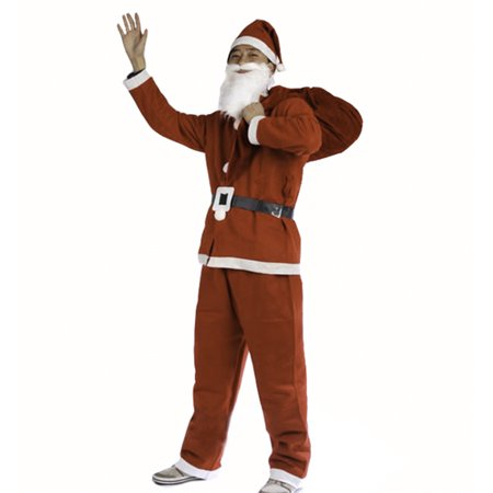 Mr Santa Claus Christmas Costume For Teen Boy Outfit Set / Pants Shirt Hat & Beard - Good Halloween Costume With Beard