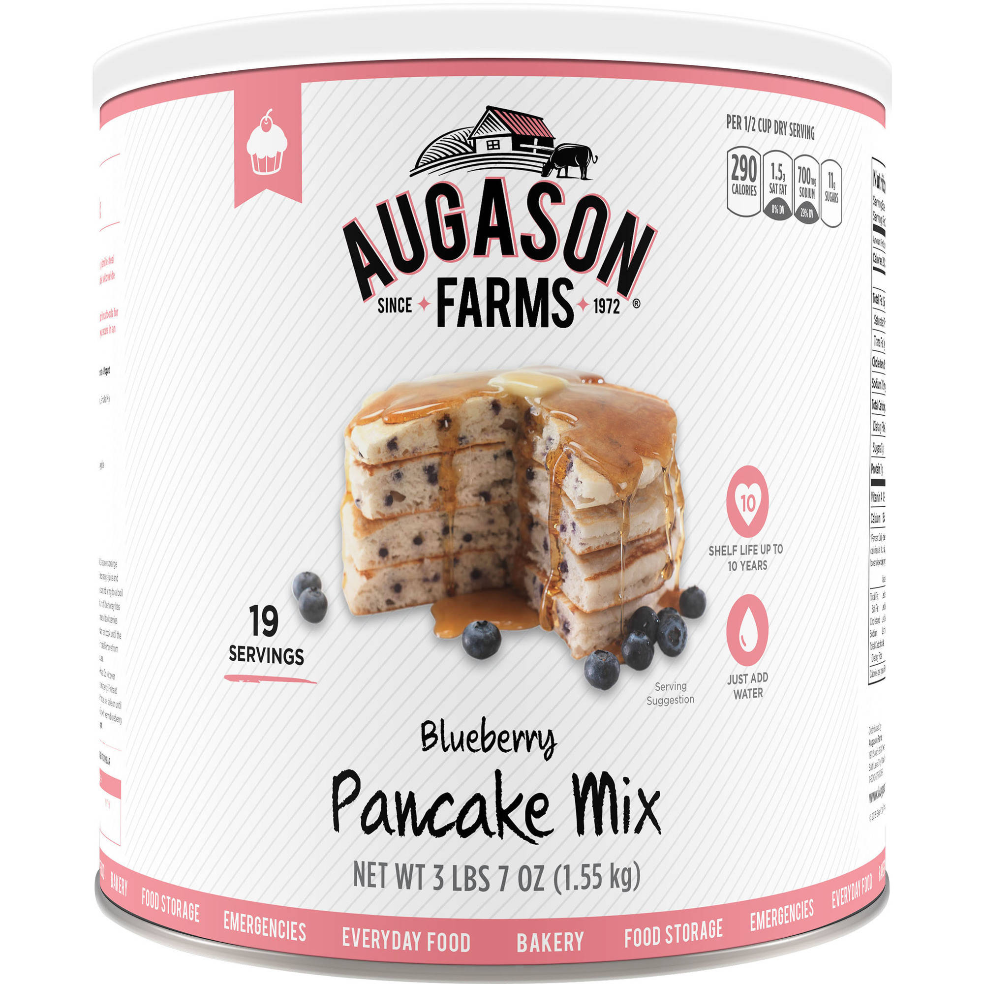 Augason Farms Emergency Food Blueberry Pancake Mix, 55 oz