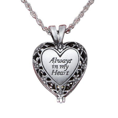 Women's Brass Urn Enclosed In Heart Locket Necklace, Silver (Vintage Silver Lockets)