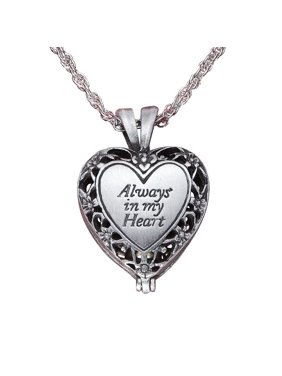 e8628548a51a Product Image Women's Brass Urn Enclosed In Heart Locket Necklace, Silver