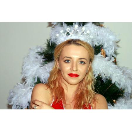 LAMINATED POSTER Snowflakes White Wreath Girl Christmas Tree Poster Print 24 x (Contemporary Wreath)