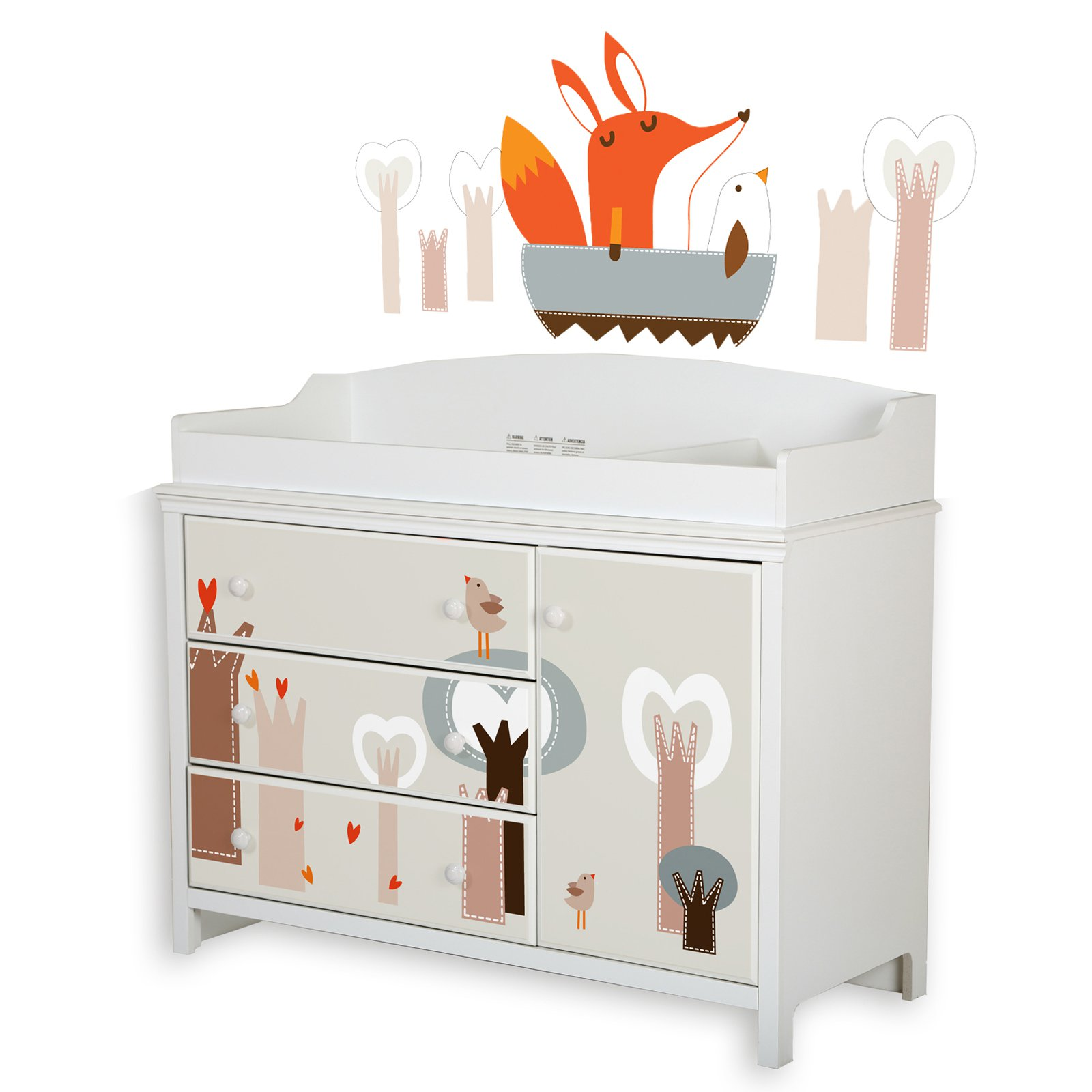 South Shore Cotton Candy Changing Table with Wall Decals Set by South Shore Furniture