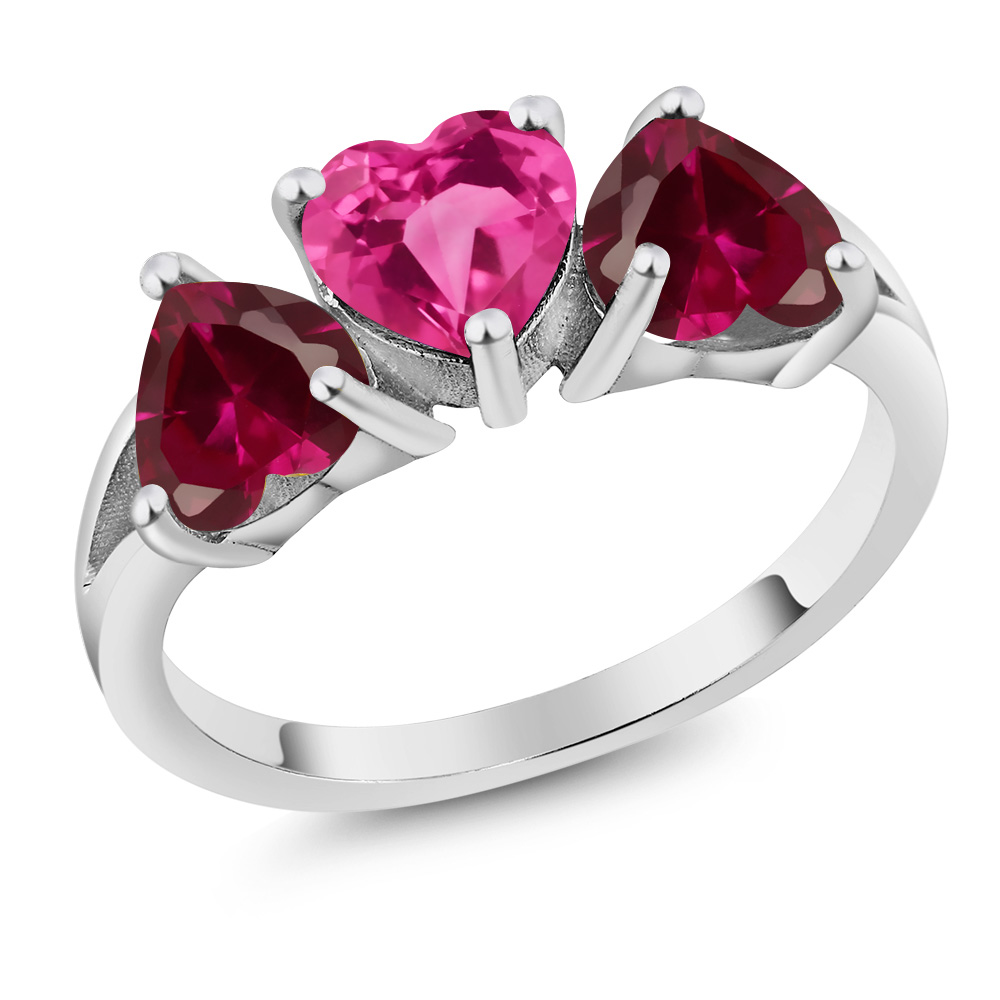 2.72 Ct Heart Pink Created Sapphire Red Created Ruby 18K White Gold 3-Stone Ring by