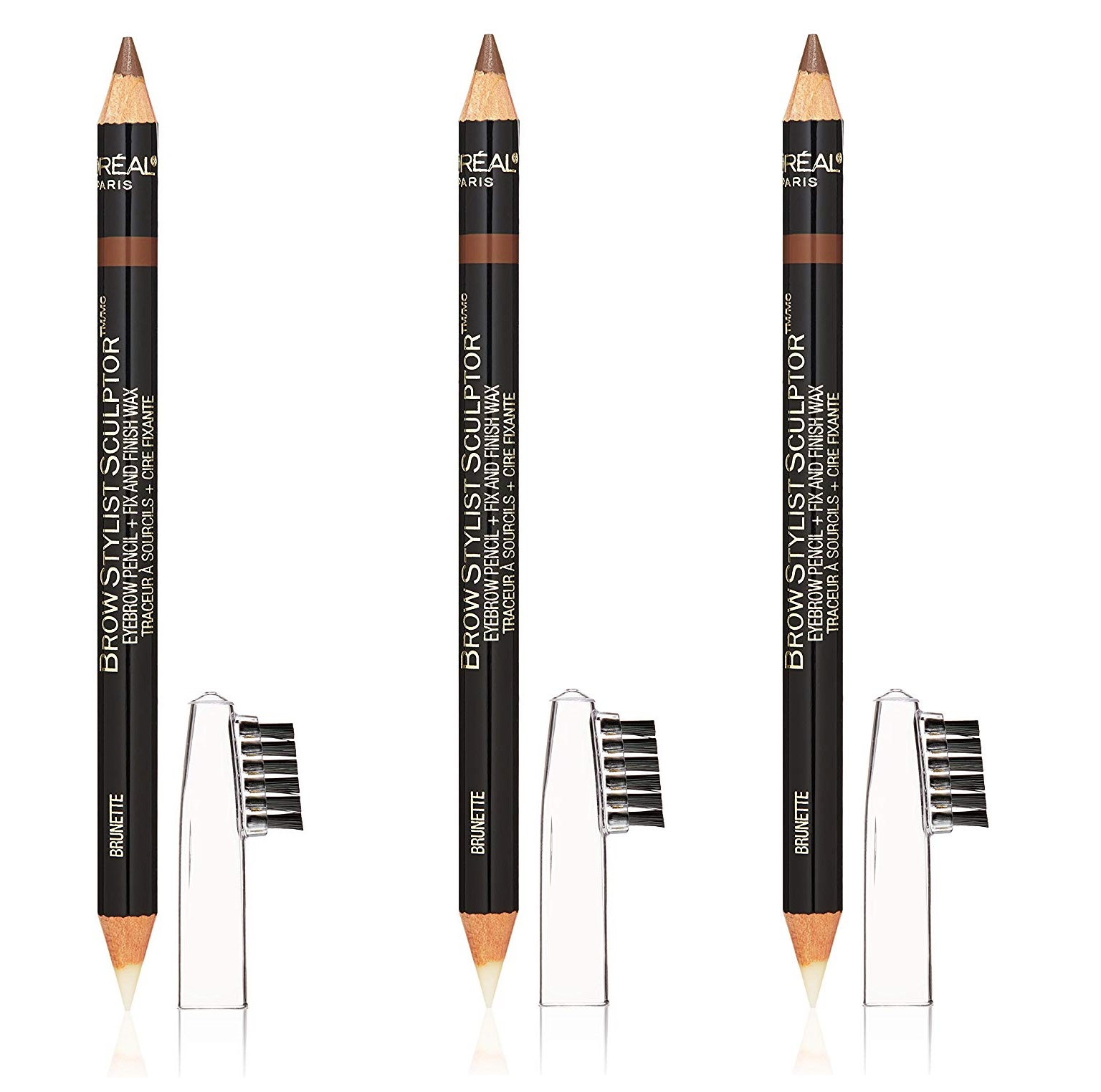 L'Oreal Brow Stylist Sculptor 3 in 1 Brow Tool/Liner, Dark Brunette #365 (Pack of 3)