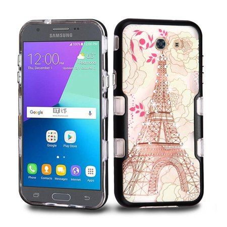 insten Eiffel Tower Metallic TUFF Panoview Hybrid Case For Samsung Galaxy Amp Prime 2 / Express Prime 2 / J3 (2017) / J3 Emerge - Multi-Color (Bundle with Micro USB Cable) I1010 Micro Case