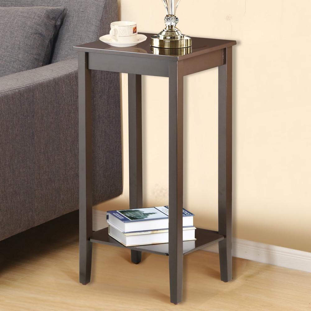 Yaheetech Wood Coffee Table Tall Bedside Nightstand Bedroom Living Room Sofa Side End Table Furnture, Espresso