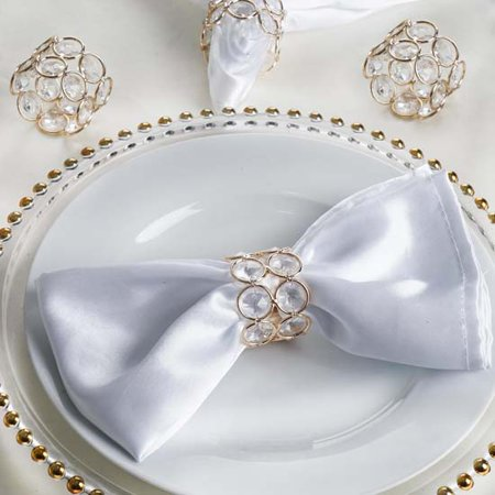 Efavormart 4PCS Bling Glass Crystal Gem Napkin Rings For Wedding Decor Table Decoration](Gold Napkin Rings)