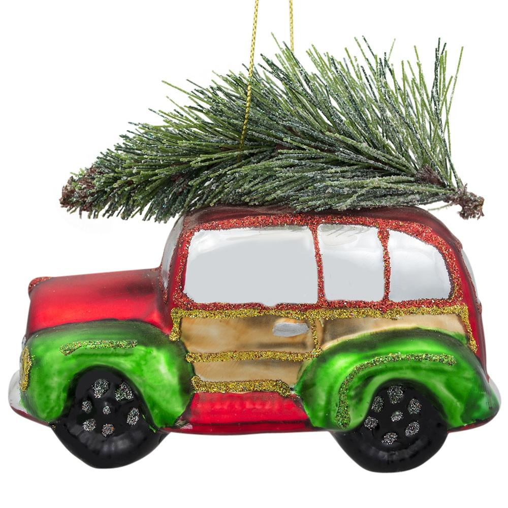 "4"" Vintage Car with Artificial Christmas Tree Glass Ornament"