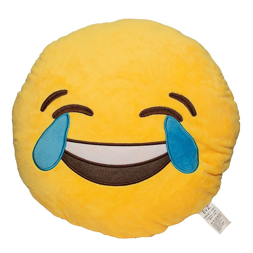 Emoji Smiley Emoticon Yellow Round Plush Pillow - Tears of Joy