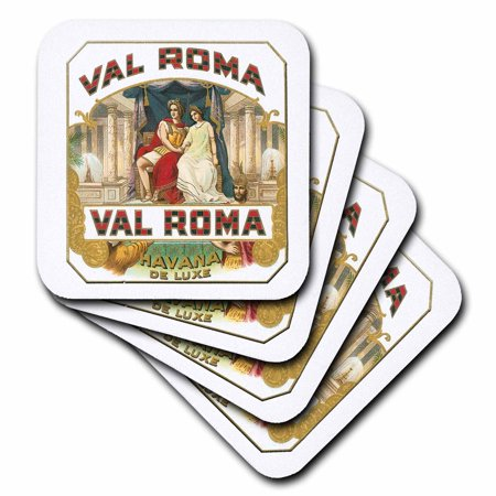3dRose Val Roma Havana De Luxe Vintage Cuban Cigar Label Reproduction, Soft Coasters, set of 8