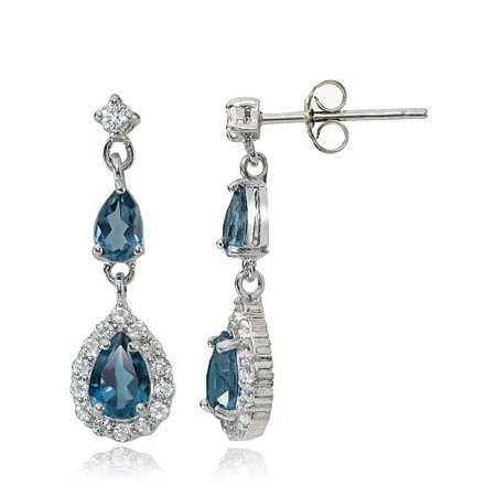 London Blue Topaz Drop (Sterling Silver London Blue & White Topaz Fashion Teardrop Earrings )