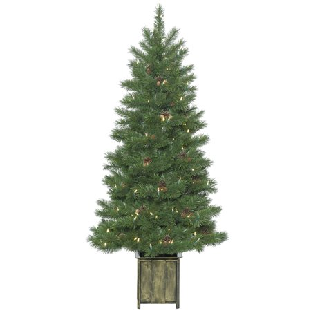 Vickerman Artificial Christmas Tree 5 X 30   Potted Newfield Fir 200 Led Warm White Lights