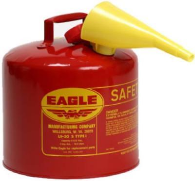 Eagle 5 Gallon Type l Safety Gasoline Can With F-15 Funnel