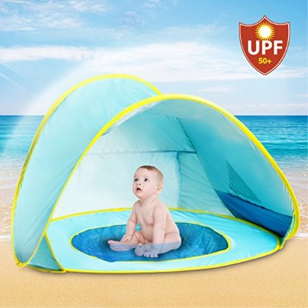 promo code 168df 9f243 Hippo Creation UV Protection Ultra Light Baby Beach Tent with Pool   Pop Up  Sun Canopy Shelter   Kiddie Beach Umbrella   Excellent for Infant and Kid  ...