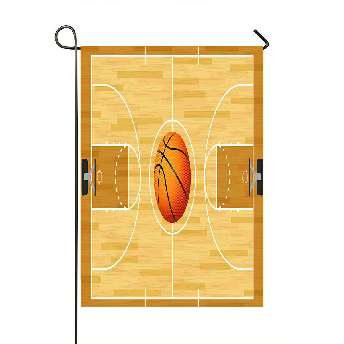 Eczjnt Basketball Court Basketball In The Center Court Outdoor Flag Home Party Garden Decor 28x40 Inch Walmart Com Walmart Com