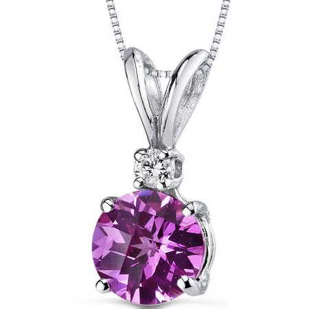 1.35 ct Round Pink Created Sapphire and Diamond Pendant in 14K White Gold, 18