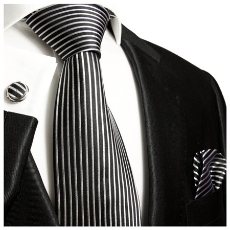 Extra Long Black and Silver Striped Paul Malone Silk Tie with (Black Silk Extra Long Ties)