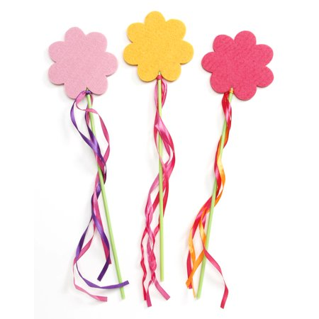 - Felt Flower Wand With Streamers 3Ast