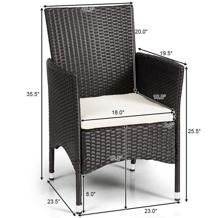 Gymax 2PC Patio Rattan Wicker Dining Chairs Set Black With 2 Set Cushion Covers - image 6 of 10
