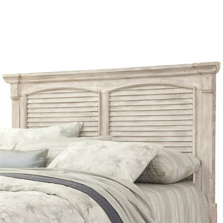 Cottage Traditions Crackled White Queen Square Panel Headboard Only