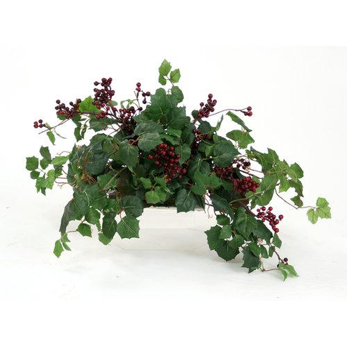 Distinctive Designs Topper with Silk Danica Ivy, Galax Leaves and Wild Berries on Tray Floor Plant in Planter