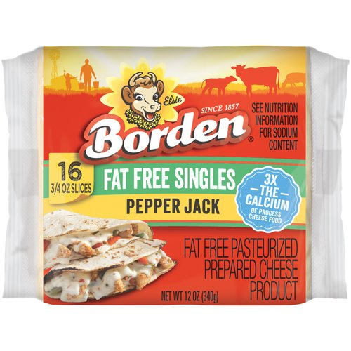 Borden Fat Free Pepper Jack Cheese Slices, 16 ct