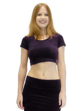 Vivian's Fashions Top - Velour Crop Top, Short Sleeve