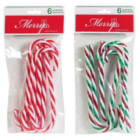 - Plastic Candy Cane Ornaments, 2 (6-ct. Packs, 1 Red & 1 Green Striped) By Christmas House