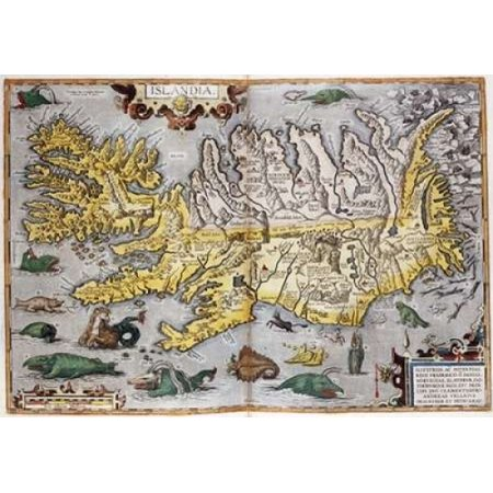 Hand Colored Map of Iceland Poster Print by  Abraham Ortelius  (10 x 14)