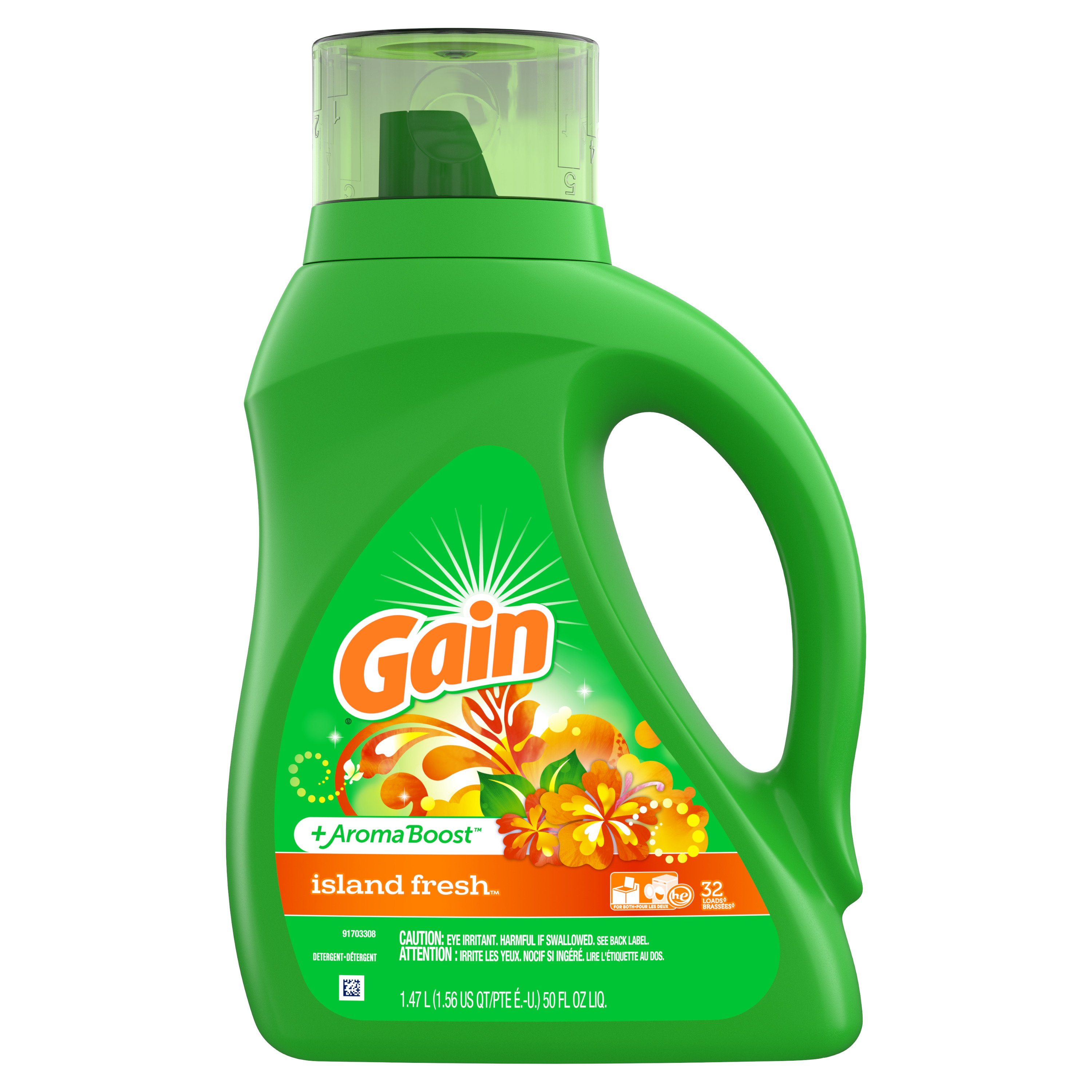 Gain Aroma Boost Liquid Laundry Detergent, Island Fresh, 32 Loads, 50 fl oz
