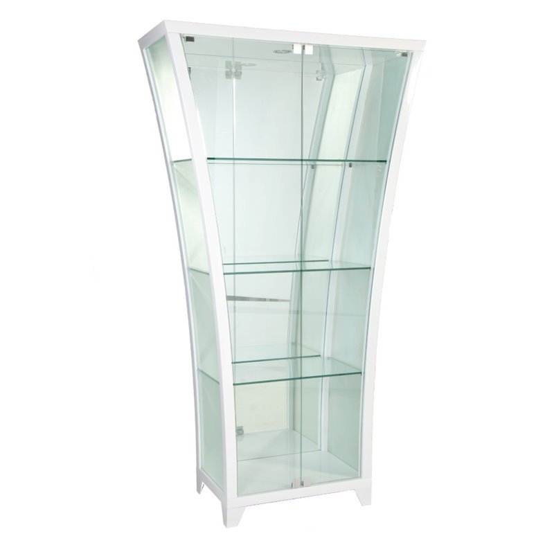 Chintaly Frosted Curio Cabinet In Glossy White