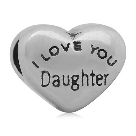 Stainless Heart Shaped I Love You Daughter Charm Bead Fits Pandora Style Charm Bracelets - Pandora I Love You Charm
