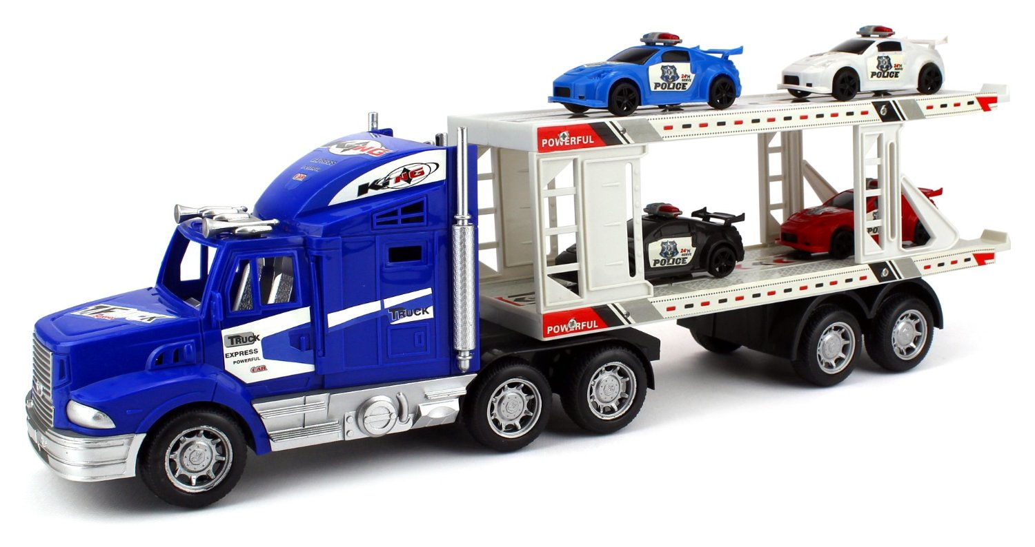 City Police Transporter Trailer 1:32 Children's Kid's Friction Toy Truck Ready To Run w  4... by Velocity Toys