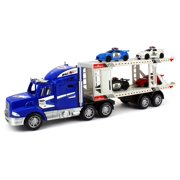 City Police Transporter Trailer 1:32 Children's Kid's Friction Toy Truck Ready To Run w/ 4 Toy Cars, No Batteries Required (Colors May Vary)