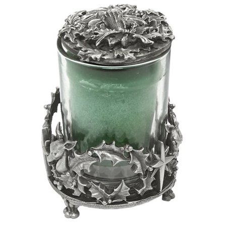 Bianca Collection Reindeer and Holly Pewter Votive Candle Holder