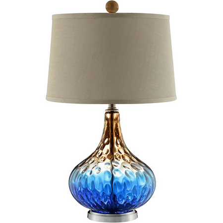 Table Lamps 1 Light Fixtures With Cobalt Blue Finish Glass Steel Material A-15 Bulb 16 inch Wide 100