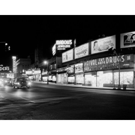 USA New York State New York City Bronx Night view of Fordham Road looking West Stretched Canvas -  (18 x 24)