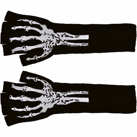 Long Fingerless Gloves with Skeleton Print Adult Halloween Accessory - Skeleton Fingerless Gloves