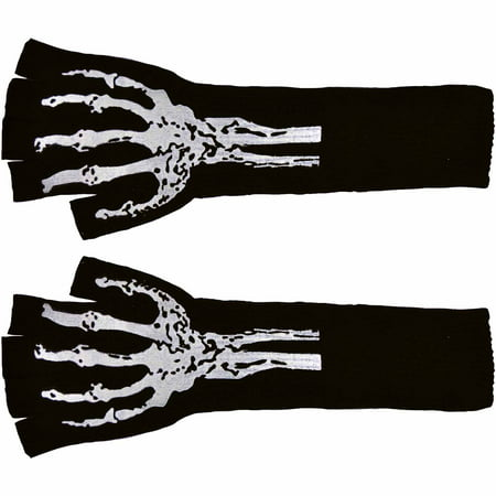 Long Fingerless Gloves with Skeleton Print Adult Halloween Accessory](Halloween Skeleton Mouth Makeup)