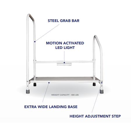 Astonishing Step2Bed Bed Hand Rail Adjustable Height Bed Step Stool With Led Light Portable Bedroom Fall Prevention Cjindustries Chair Design For Home Cjindustriesco