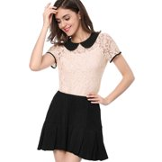 Women's Contrast Color Peter Pan Collar See Through Lace T-Shirt Top Blouse Green M (US 10)