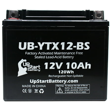 2-Pack Replacement 2012 Arctic Cat DVX300 300 CC Factory Activated, Maintenance Free, ATV Battery - 12V, 10Ah, UB-YTX12-BS - image 2 of 4