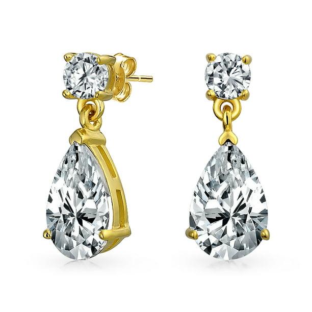 NEW Classic Women Gold Plated CZ Cubic Zirconia Dangle Drop Earrings Jewelry