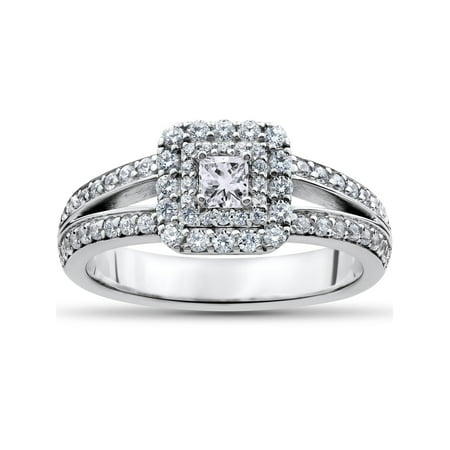 1 ct Princess Cut Diamond Double Halo Engagement Ring 14k White Gold