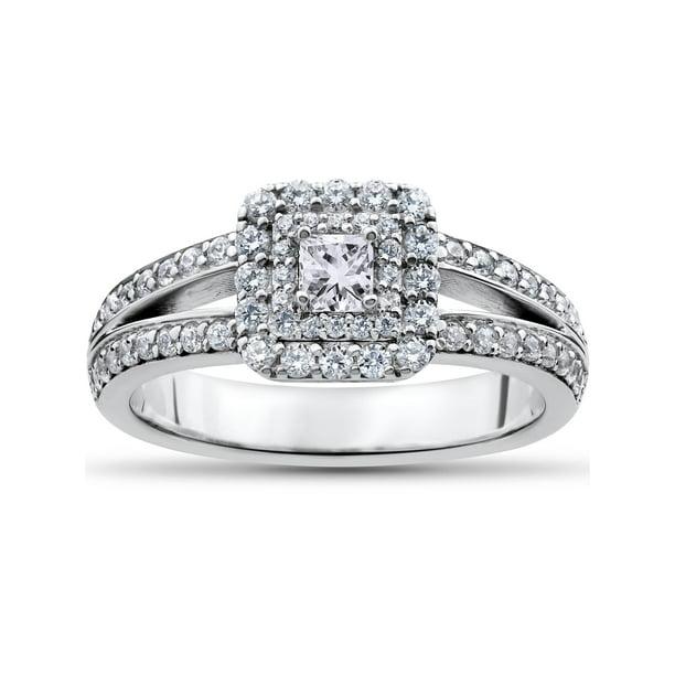 Pompeii3 1 Ct Princess Cut Diamond Double Halo Engagement Ring 14k White Gold Walmart Com Walmart Com
