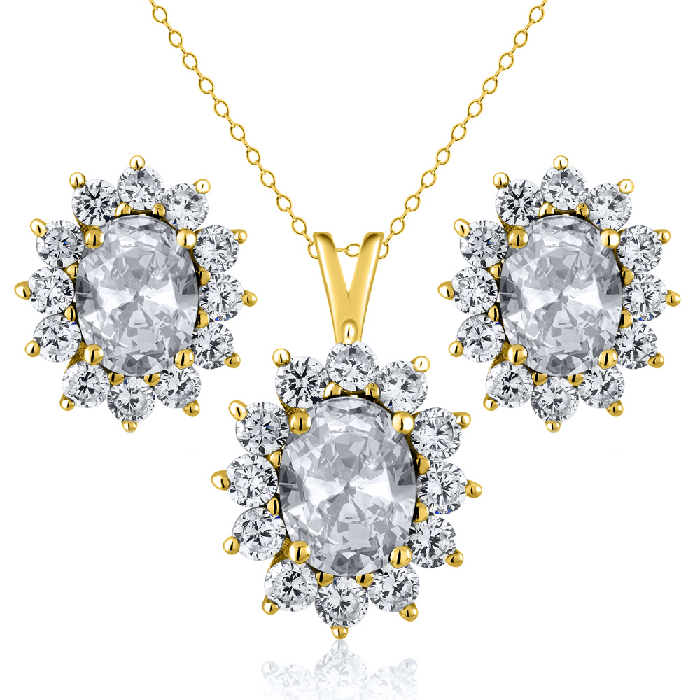 2.90 Ct Oval White Topaz 18K Yellow Gold Plated Silver Pendant Earrings Set by