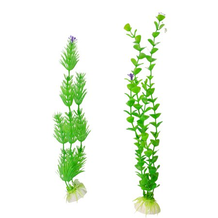 Unique Bargains Unique Bargains Fish Tank Ornamental Plastic Upright Aquatic Grasses Weeds 2 Pcs