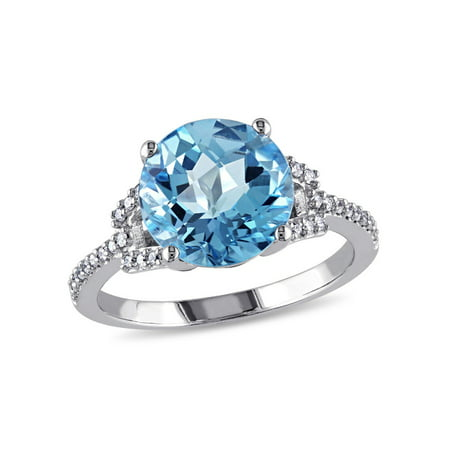 4.50 Carat (ctw) Swiss Blue Topaz Ring in 14K White Gold with Diamonds 1/6 Carat (ctw) - image 4 de 4
